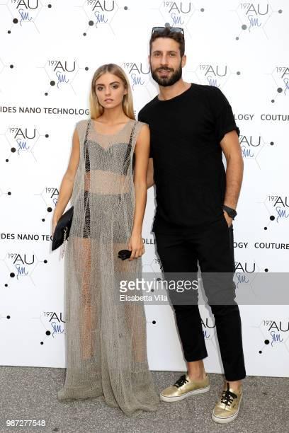 Giulia Palombini and her boyfriend attend Sfilata AU197SM AltaRoma on June 29 2018 in Rome Italy