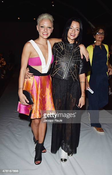 Giulia Provvedi and Silvia Provvedi alias le Donatelle attend the Zeng Fengfei show during the Milan Men's Fashion Week Spring/Summer 2016 on June...
