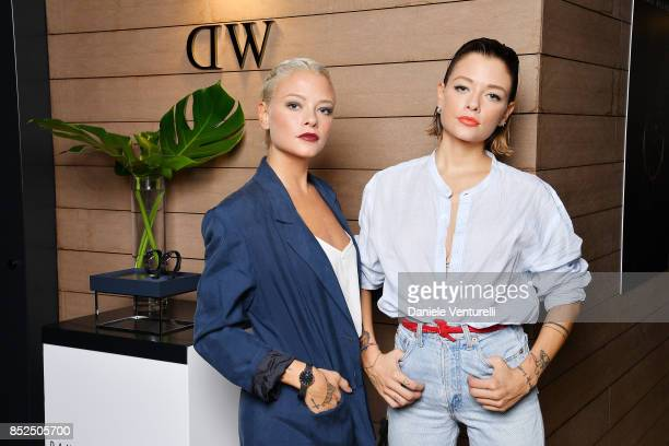 Giulia Provvedi and Silvia Provvedi attend #DWMilan cocktail party at Hotel la Gare on September 23, 2017 in Milan, Italy.