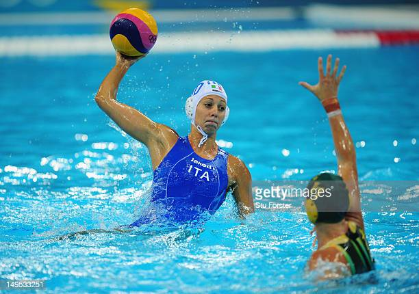 Giulia Rambaldi Guidasci of Italy is faced by Mel Rippon of Australia during the Women's Water Polo Preliminary match between Italy and Australia on...