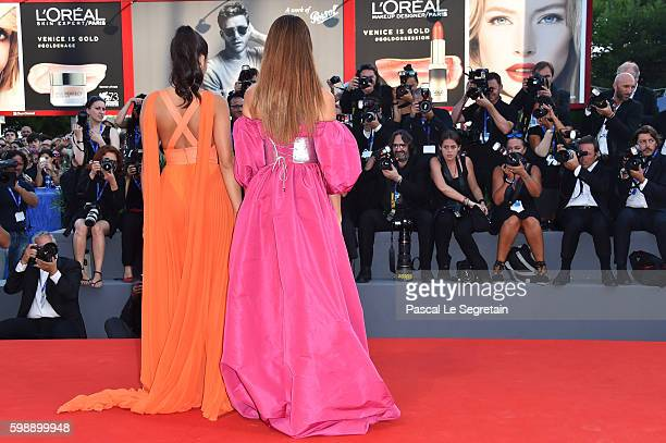 Giulia Salemi and Dayane Mello attend the premiere of 'The Young Pope' during the 73rd Venice Film Festival at Palazzo del Casino on September 3,...