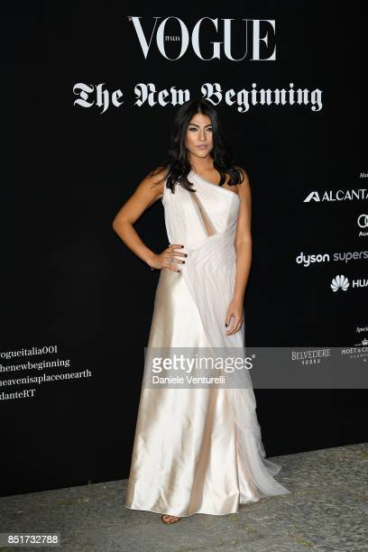Giulia Salemi attends theVogue Italia 'The New Beginning' Party during Milan Fashion Week Spring/Summer 2018 on September 22 2017 in Milan Italy