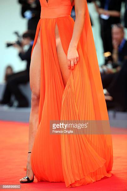 Giulia Salemi dress detail attends the premiere of 'The Young Pope' during the 73rd Venice Film Festival at Palazzo del Casino on September 3 2016 in...