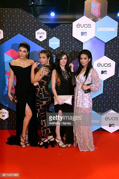 Giulia Salemi Elettra Lamborghini Arantxa Bustos and Emilia Cheranti attend the MTV Europe Music Awards 2016 on November 6 2016 in Rotterdam...