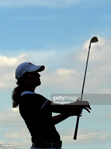 Giulia Sergas of Italy follows the flight of her approach shot on the fourth hole during round two of the 2010 Women's Australian Open at The...