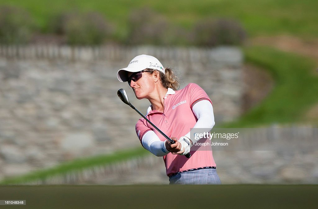 Giulia Sergas of Italy plays from the rough on the 18th hole during day two of the New Zealand women's golf open at Clearwater Golf Course on February 9, 2013 in Christchurch, New Zealand.