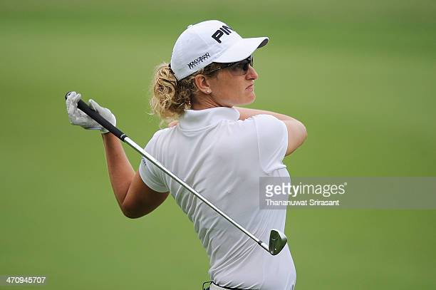 Giulia Sergas of Italy plays her shot during the second round of the Honda LPGA at Siam Country Club Pattaya on February 21 2014 in Chonburi Thailand