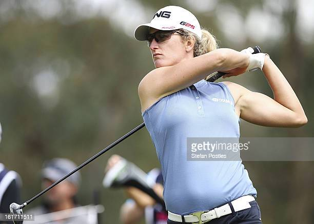 Giulia Sergas of Italy tee's off on the 9th hole during day two of the ISPS Handa Australian Open at Royal Canberra Golf Club on February 15 2013 in...
