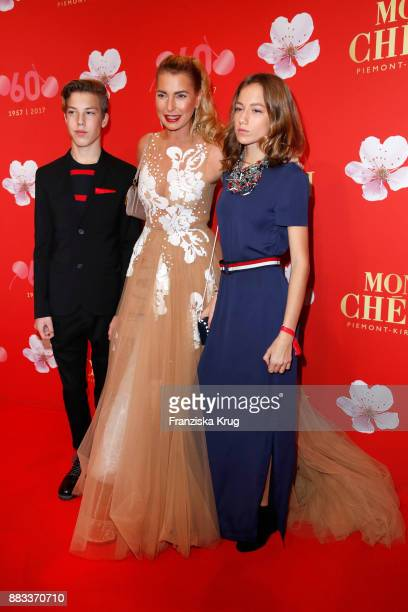 Giulia Siegel and her children Nathan Wehrmann and Mia Wehrmann attend the Mon Cheri Barbara Tag 2017 at Postpalast on November 30 2017 in Munich...