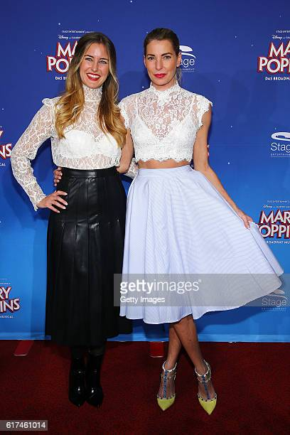 Giulia Siegel and Ramona Stoeckli attend the red carpet at the premiere of the Mary Poppins musical at Stage Apollo Theater on October 23 2016 in...