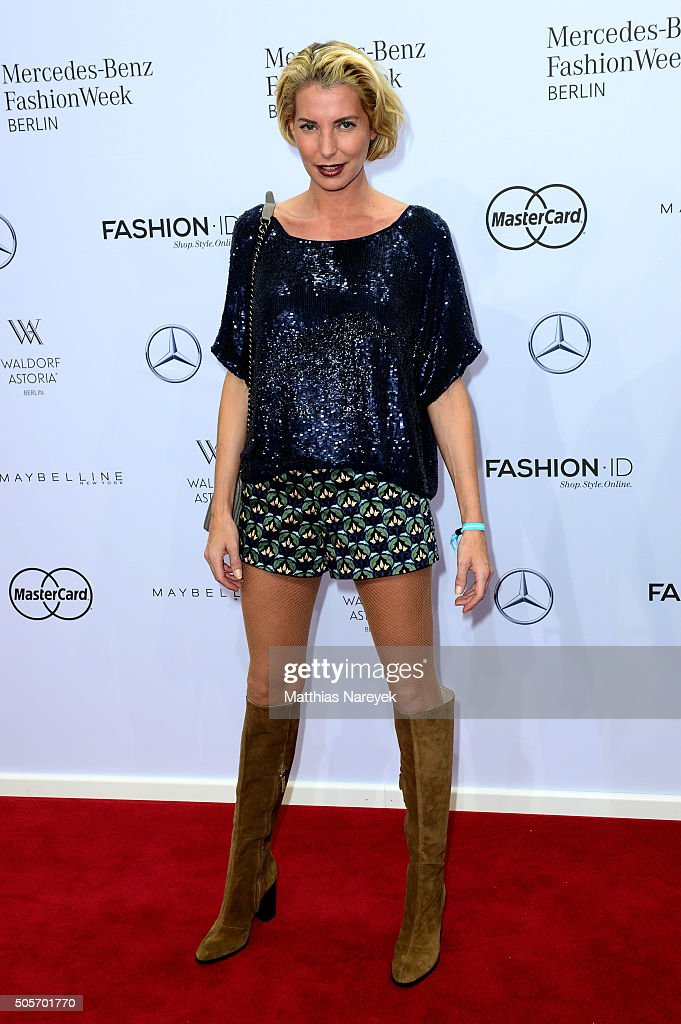 Giulia Siegel attends the Riani show during the Mercedes-Benz Fashion Week Berlin Autumn/Winter 2016 at Brandenburg Gate on January 19, 2016 in Berlin, Germany.