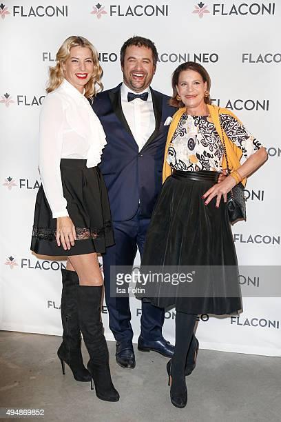 Giulia Siegel Hauke Schmidt and Barbara Engel attend the Flaconi Neo Salon Opening on October 29 2015 in Berlin Germany