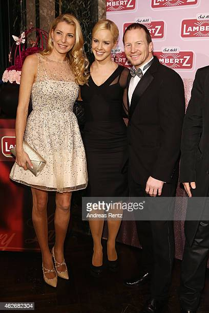 Giulia Siegel Isabel Edvardsson and Alexander Leipold arrive for the Lambertz Monday Night 2015 at Alter Wartesaal on February 2 2015 in Cologne...