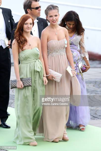 Giulia Sommerlath and Vivien Sommerlath depart for the travel by boat to Drottningholm Palace for dinner after the wedding of Princess Madeleine of...