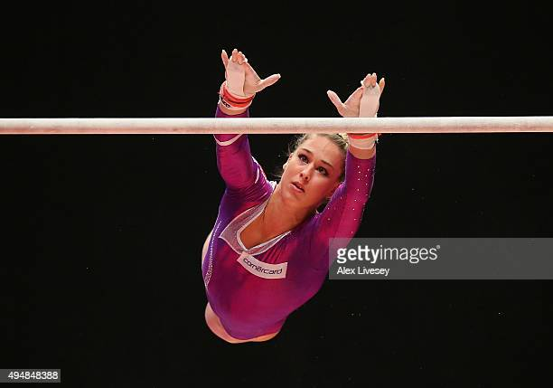 Giulia Steingruber of Switzerland competes on the Uneven Bars during the AllAround Final on day seven of the 2015 World Artistic Gymnastics...