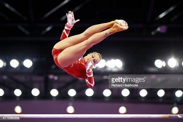 Giulia Steingruber of Switzerland competes on the uneven bars in the Women's Team Final and Individual Qualification during day two of the Baku 2015...