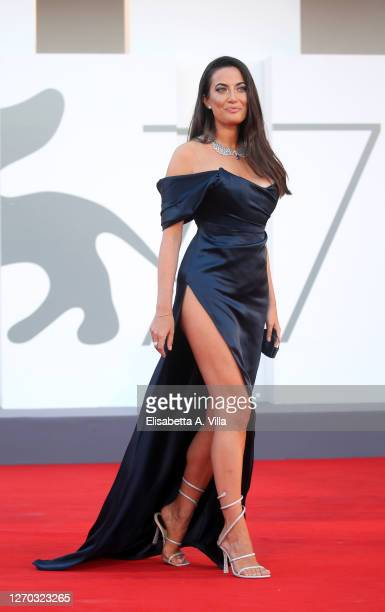 """Giulia Valentina walks the red carpet ahead of the Opening Ceremony and the """"Lacci"""" red carpet during the 77th Venice Film Festival at on September..."""