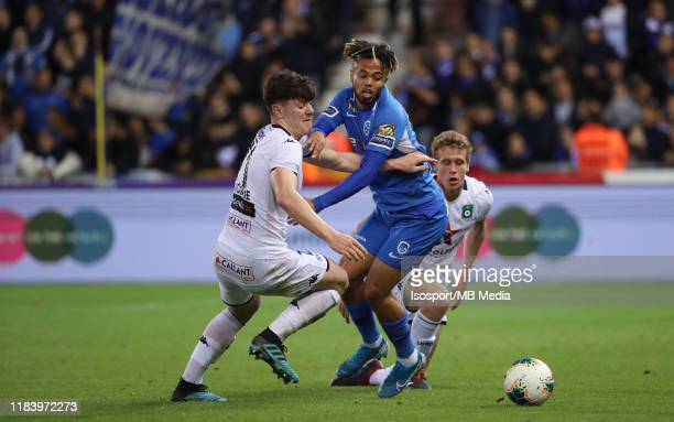 Giulian Biancone of Cercle battles for the ball with Theo Bongonda of Krc Genk during the Jupiler Pro League match between KRC Genk and Cercle Brugge...