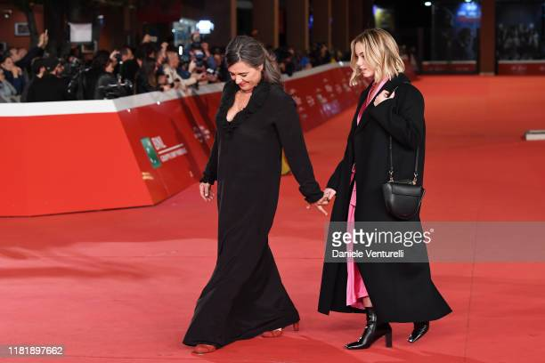 "Giuliana Pavarotti and Caterina Lo Sasso attend the ""Pavarotti"" red carpet during the 14th Rome Film Festival on October 18, 2019 in Rome, Italy."