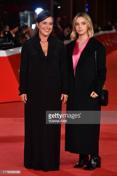 Giuliana Pavarotti the daughter of late Italian tenor Luciano Pavarotti and Luciano Pavarotti's granddaughter Caterina Lo Sasso arrive for the...