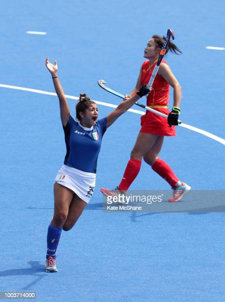 Giuliana Ruggieri of Italy celebrates scoring her side's third goal during the Pool A game between China and Italy of the FIH Womens Hockey World Cup...