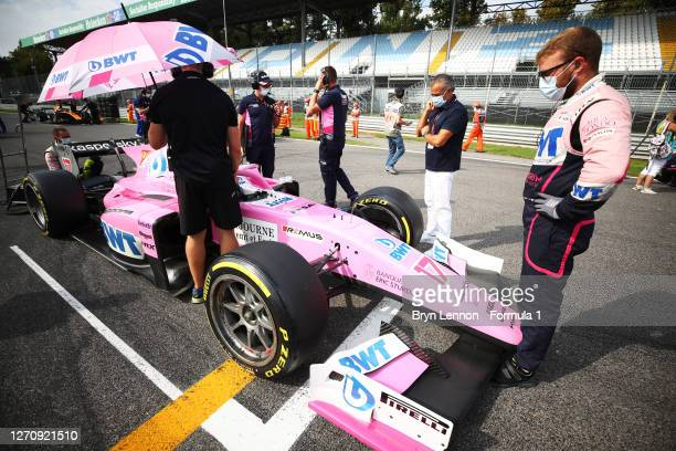 Giuliano Alesi of France and BWT HWA Racelab prepares to drive on the grid as his father Jean Alesi looks on before the sprint race for the Formula 2...