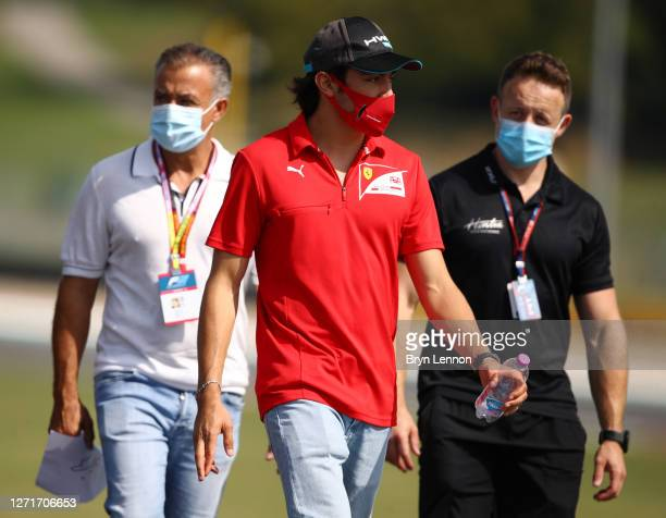 Giuliano Alesi of France and BWT HWA Racelab walks the track with his team and father, Jean Alesi during previews ahead of the Formula 2 Championship...