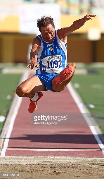 Giuliano Costantini of Italy competes in the men's long jump at the 19th European Veterans Athletic Championship Stadia 2014 in Izmir the western of...