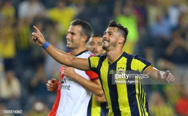 Giuliano of Fenerbahce celebrates after scoring a goal during a friendly match between Fenerbahce and Feyenoord at the Ulker Stadium in Istanbul...