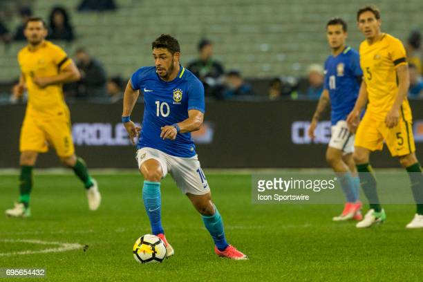 Giuliano Paua of the Brazilian National Football Team controls the ball during the International Friendly Match Between Brazilian National Football...