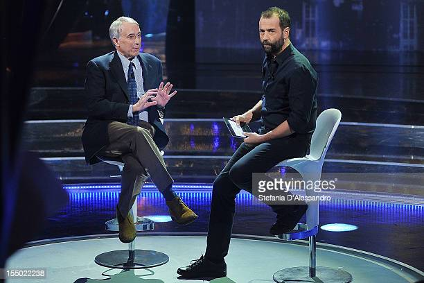 Giuliano Pisapia and Fabio Volo attend 'Volo In Diretta' TV Show on October 30 2012 in Milan Italy