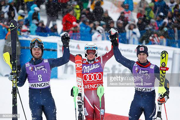 Giuliano Razzoli of Italy takes 2nd place Henrik Kristoffersen of Norway takes 1st place Stefano Gross of Italy takes 3rd place during the Audi FIS...