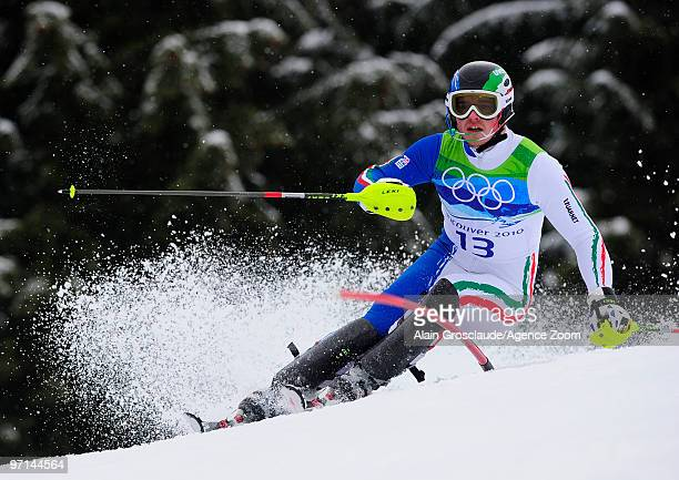 Giuliano Razzoli of Italy takes the Gold Medal during the Men's Alpine Skiing Slalom on Day 16 of the 2010 Vancouver Winter Olympic Games at Whistler...