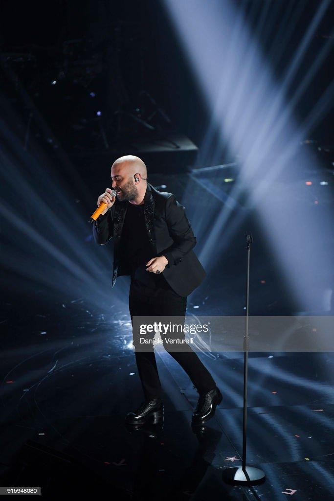Giuliano Sangiorgi attends the third night of the 68. Sanremo Music Festival on February 8, 2018 in Sanremo, Italy.