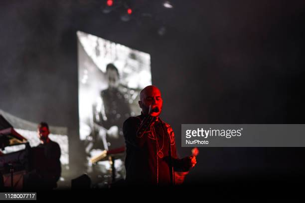 Giuliano Sangiorgi of Italian national band Negramaro sing during her live concert of quotAmore Che Torni Tourquot in Mediolanum Forum in Assago...
