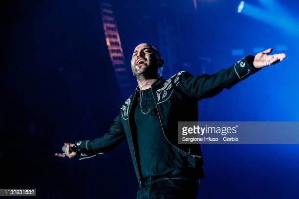 Giuliano Sangiorgi of Negramaro performs on stage at Mediolanum Forum on February 27, 2019 in Milan, Italy.