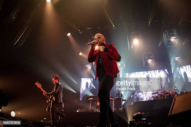 Giuliano Sangiorgi of the italian rock band Negramaro pictured on stage as he performs live at Unipol Arena Bologna