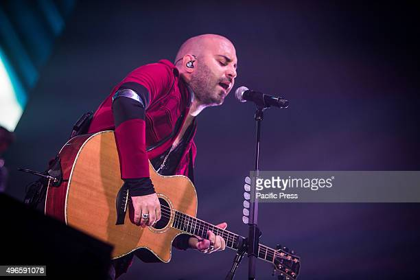 Giuliano Sangiorgi of the italian rock band Negramaro pictured on stage as he performs live at Unipol Arena Bologna.