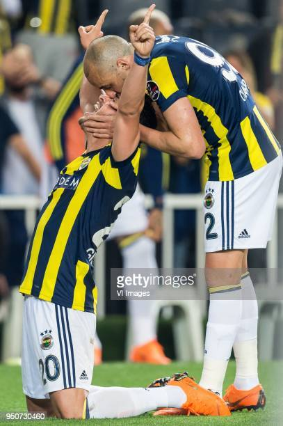 Giuliano Victor de Paula of Fenerbahce SK Aatif Chahechouhe of Fenerbahce SK during the Turkish Spor Toto Super Lig match Fenerbahce AS and...