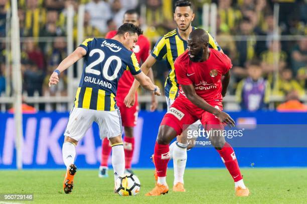 Giuliano Victor de Paula of Fenerbahce SK Josef de Souza Dias of Fenerbahce Souleymane Doukara of Antalyaspor AS during the Turkish Spor Toto Super...
