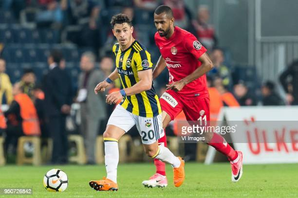 Giuliano Victor de Paula of Fenerbahce SK Maicon Marques Bitencourt of Antalyaspor AS during the Turkish Spor Toto Super Lig match Fenerbahce AS and...
