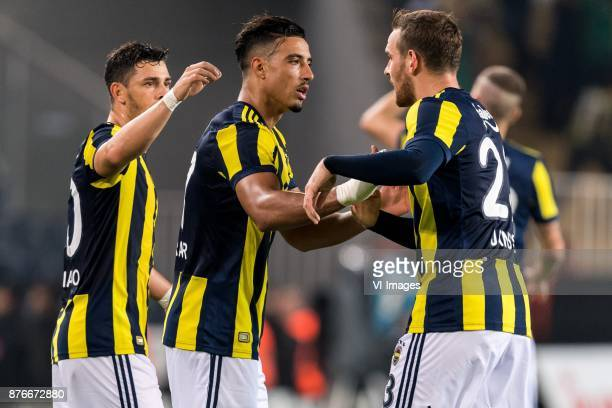 Giuliano Victor de Paula of Fenerbahce SK Nabil Dirar of Fenerbahce SK Vincent Janssen of Fenerbahce SK during the Turkish Spor Toto Super Lig...