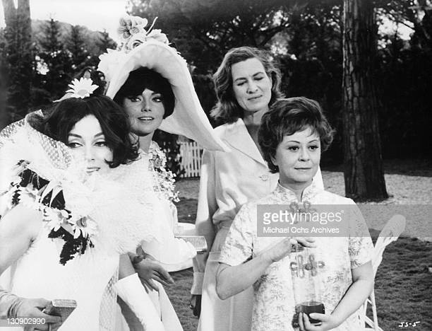 Giulietta Masina invites Valentina Cortese Sylva Koscina and Anne Francine to her garden party in a scene from the film 'Juliet Of The Spirits' 1965