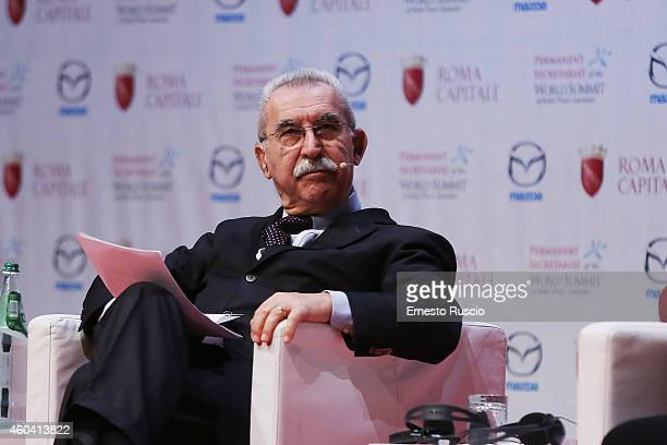 Giulietto Chiesa attends the 14th World Summit of Nobel Peace Laureates at Auditorium Parco Della Musica on December 13 2014 in Rome Italy