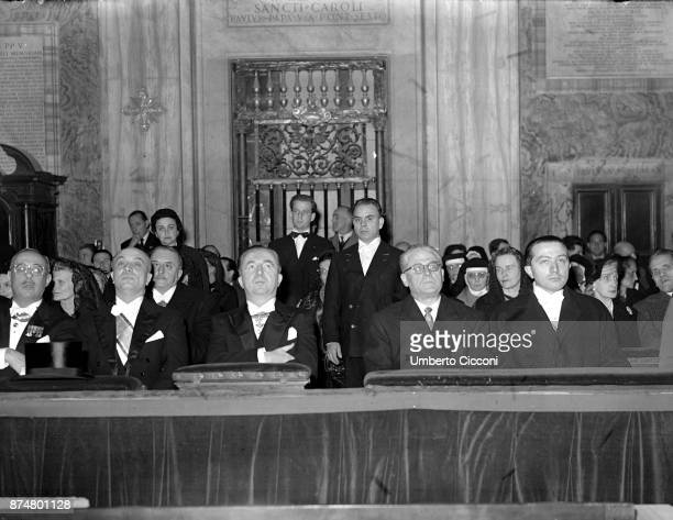Giulio Andreotti attends the ceremony for Jubilee year 1950