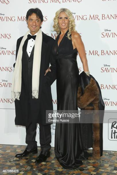 Giulio Base and Tiziana Rocca attend the 'Saving Mr Banks' premiere at The Space Moderno on February 6 2014 in Rome Italy