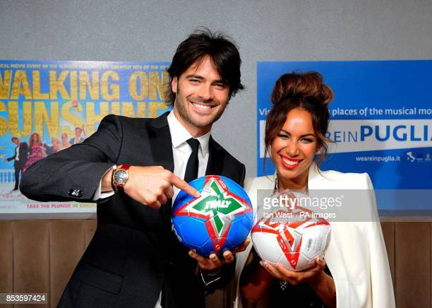 Giulio Berruti and Leona Lewis attending the Walking On Sunshine premiere at Vue West End Leicester Square London