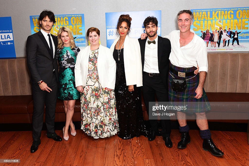 Giulio Berruti, Hannah Arterton, Katy Brand, Leona Lewis, Giulio Corso and Greg Wise attend the UK premiere of 'Walking On Sunshine' at The Vue West End on June 11, 2014 in London, England.