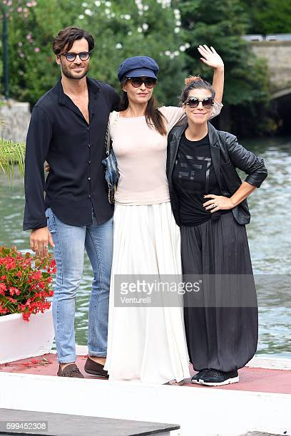 Giulio Berruti Mia Benedetto and Michela Andreotti arrive at Lido during the 73rd Venice Film Festivalon September 5 2016 in Venice Italy