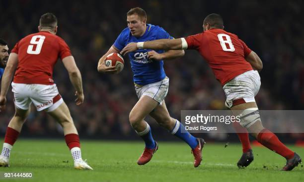 Giulio Bisegni of Italy takes on Taulupe Faletau in the lineout during the NatWest Six Nations match between Wales and Italy at the Principality...